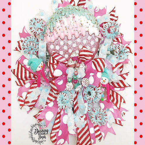 Whimsical Christmas Candy ~ Lollipop ~ Snowman ~ Cupcake Wreath