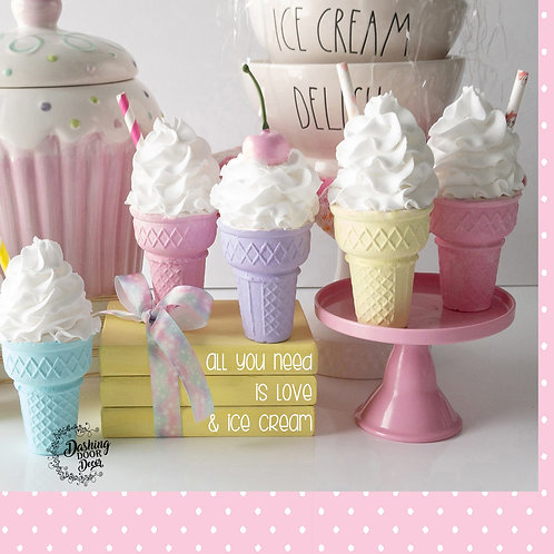 Ice Cream Faux Stacked Books for Display