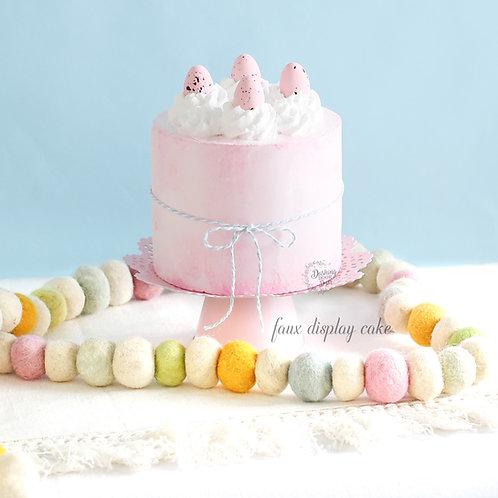 Fake Naked Soft Pink Easter Egg Cake for Display