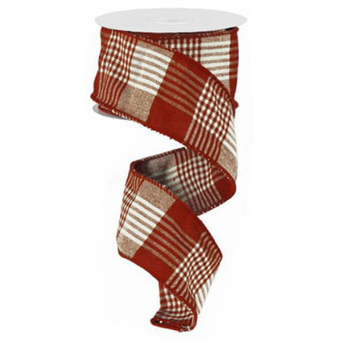 """2.5"""" Red Ivory Striped Checked ribbon (10 Yards)"""