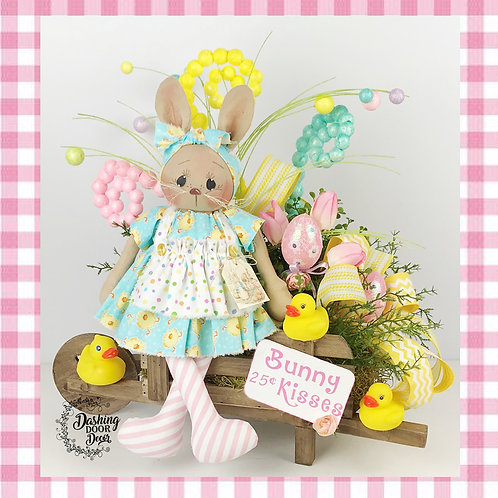Easter Bunny Kisses Wagon Tabletop Floral Centerpiece Arrangement