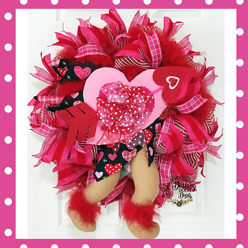 Valentine's Day Cupid Bow & Arrow Heart Wreath Black Red