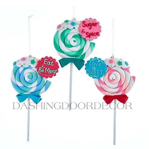 Candyland Swirl Lollipop Ornaments