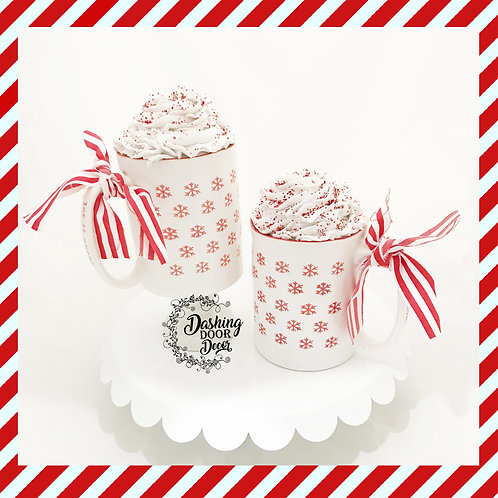 Fake Food Hot Cocoa Chocolate Candy Cane Snowflake Mug