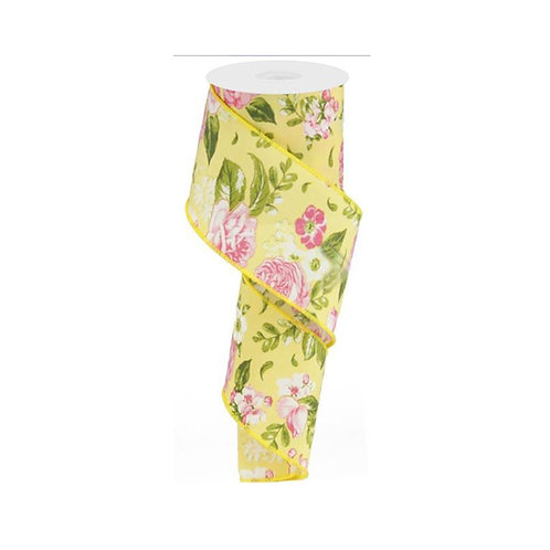 "2.5"" Floral: Rose/Green/Yellow (10 Yards)"
