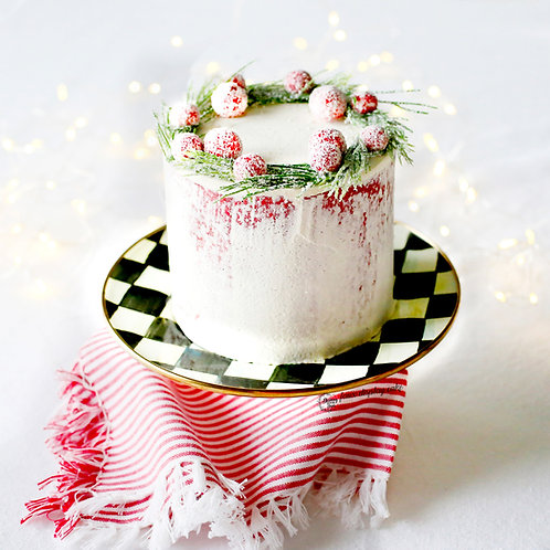 Faux Naked Red Velvet Cranberry Christmas Cake for Display/Decor