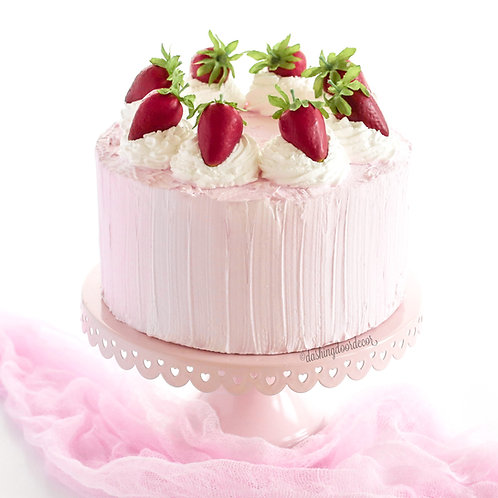 Faux Strawberries & Cream Cake for Display