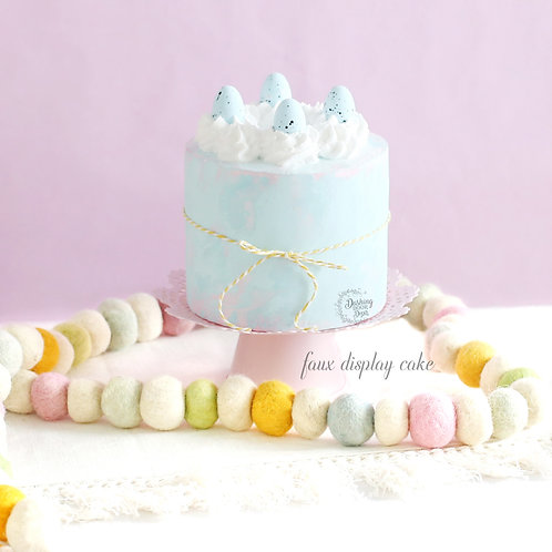 Fake Naked Soft Blue & Pink Easter Egg Cake for Display