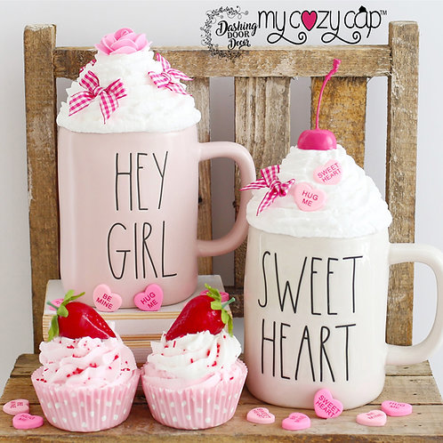 My Cozy Cap™ Candy Hearts & Flowers Faux Whip Mug Topper Fits Rae Dunn Mug