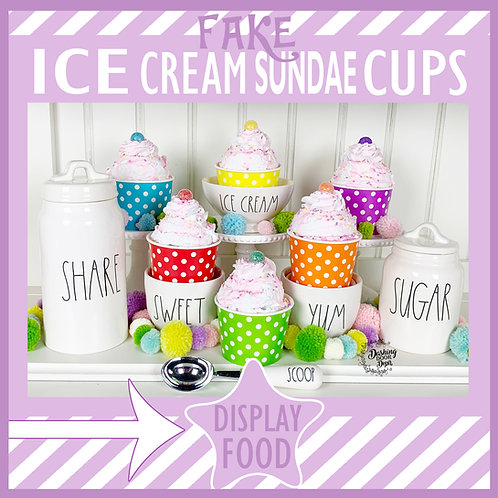 Fake Ice Cream Sundae w/ Whipped Cream & Sprinkles (display food)