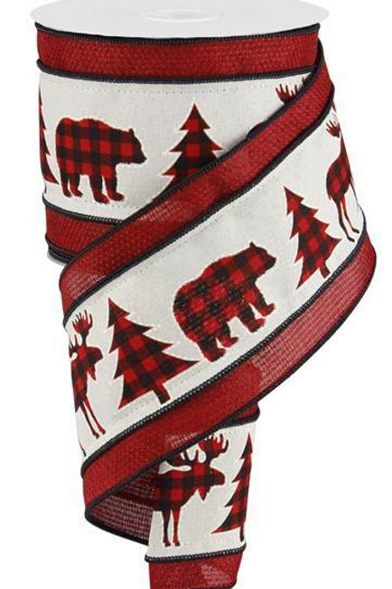 "4"" Check Bear/Moose/Tree: Cream/Red/Black (10 Yards)"