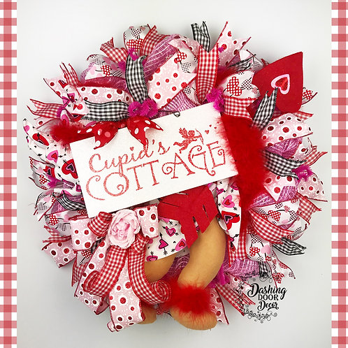 Valentine's Day Cupid's Cottage Bow & Arrow Wreath