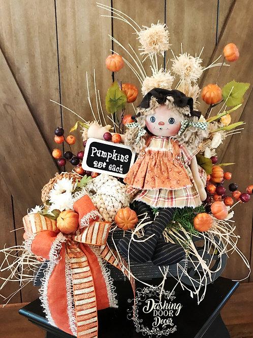 """Annie"" Fall Floral Pumpkin Wagon Centerpiece"