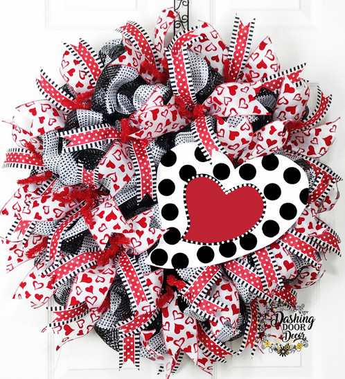 Valentine S Day Polka Dot Heart Sign Deco Mesh Wreath