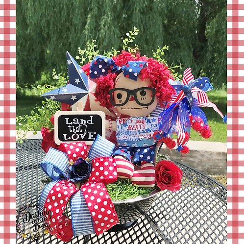 Patriotic Land that I Love Doll Fourth of July Memorial Day Colander Centerpiece