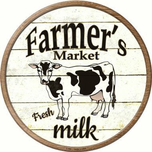 Farmers Market Fresh Milk Cow Sign