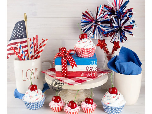 Patriotic Faux Stacked Books for Display