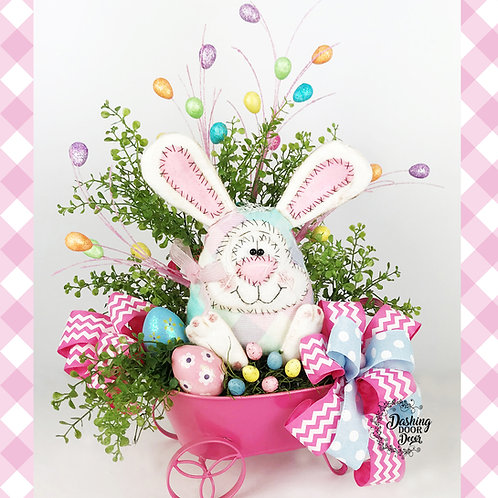 Hopper the Bunny Primitive Tabletop Floral Easter Egg Centerpiece