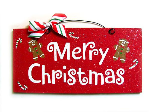 Merry Christmas with Gingerbread Man Sign
