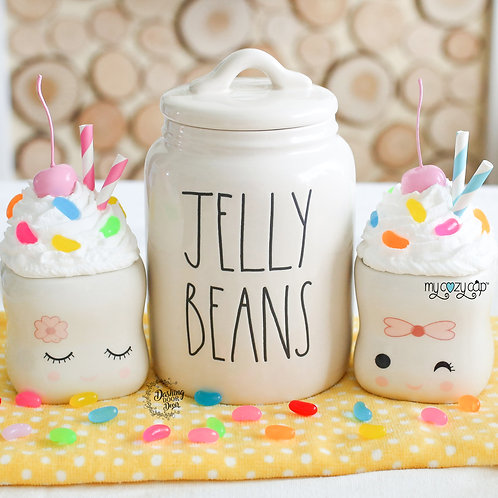 My Cozy Cap™ Jelly Beans Faux Whip Mug Topper Fits Marshmallow Mugs
