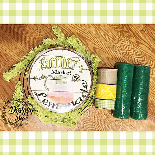 Fresh Lemonade Wreath Kit Green DIY