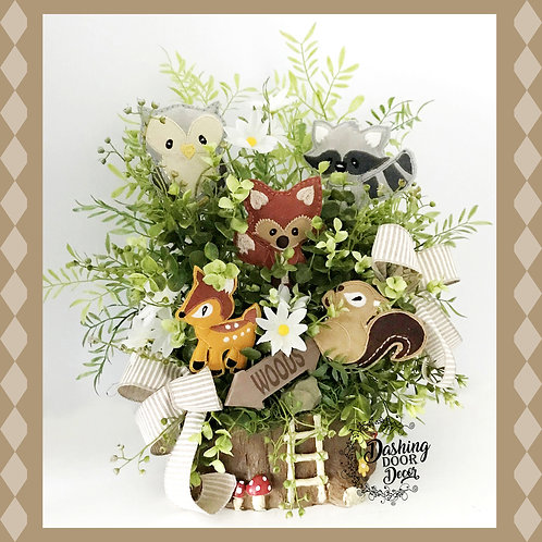Welcome Woodland Forest Animals Nursery Tabletop Centerpiece Arrangement