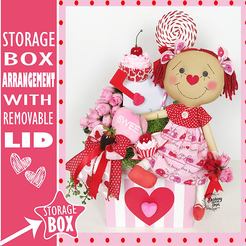 Sweet Valentine Fake Candy Desserts Doll Tabletop Floral Centerpiece Arrangement