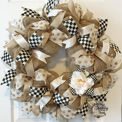 Whimsical Black & Ivory Check Ribbons & Rose Deco Mesh Wreath #79