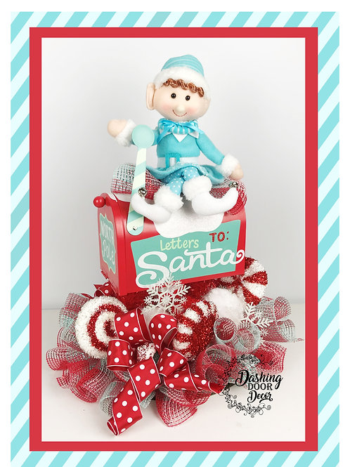Whimsical Christmas Letters to Santa Elf Mailbox Centerpiece