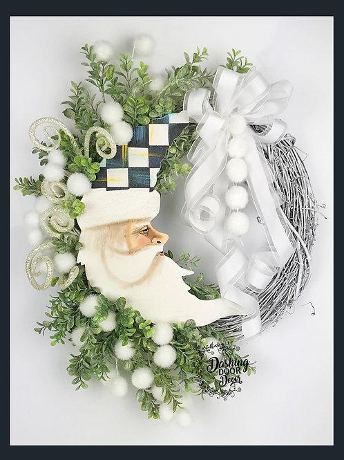 Whimsical Black Check Santa Moon Christmas Floral Grapevine Wreath