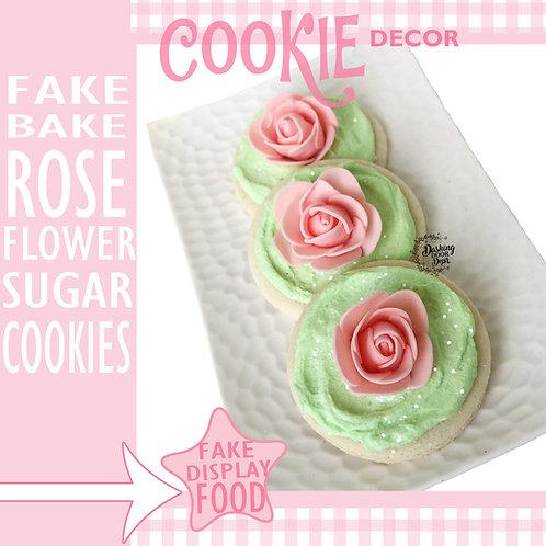 Fake Bake Mint Green Shabby Chic Rose Flower Sugar Cookies