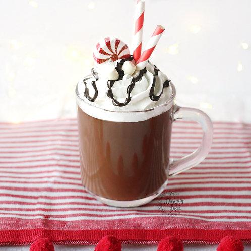 Fake Hot Cocoa Chocolate Latte w/Marshmallows, Peppermint Whipped Cream Mug
