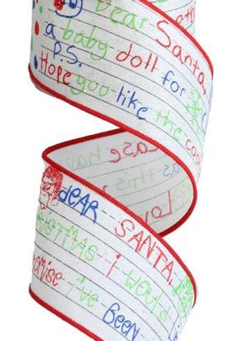 "2.5"" Dear Santa: Ivory/Lime Green/Red/Blue (10 Yards)"
