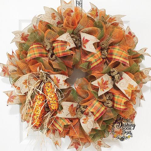 FESTIVE Autumn-Fall Indian Corn Burlap Ruffle  Deco Mesh Wreath #109
