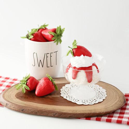Faux Strawberry Sundae Display