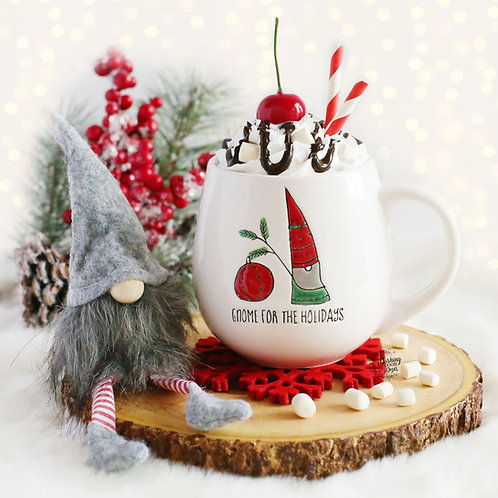 Gnome or Cat Holiday Mug w/ Faux Hot Cocoa for Display