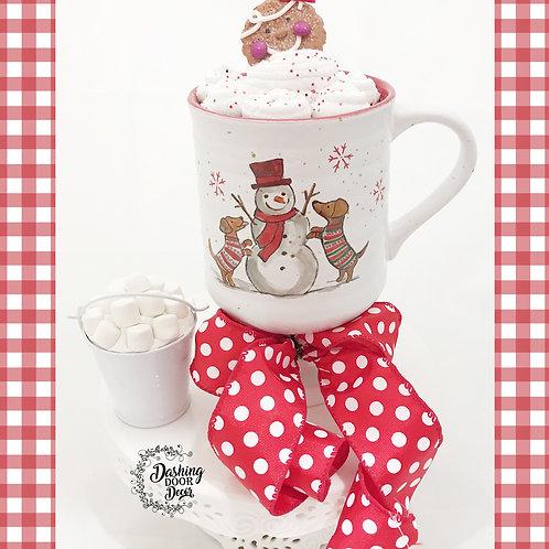 Fake Food Hot Cocoa Christmas Snowman Mug