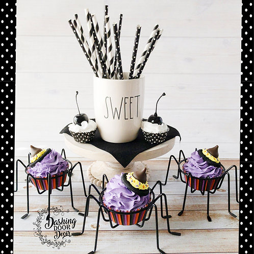 Fake Halloween Purple Witch Cupcakes Decor/Display