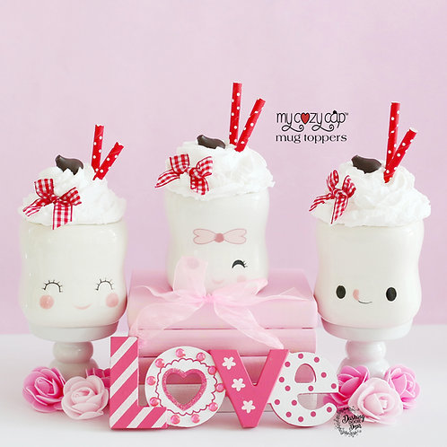 My Cozy Cap™  Valentine Faux Whip Mug Topper for Marshmallow Mugs