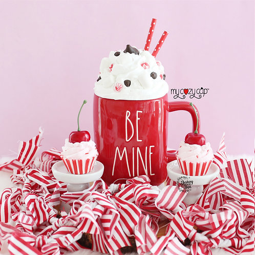 My Cozy Cap™ Peppermint Chocolate Faux Whip Mug Topper Fits Rae Dunn Mugs