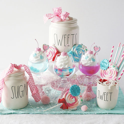 Fake Cotton Candy Italian Cream Soda Drink for Decor/ Display