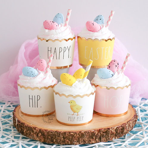 Faux Easter Egg Rae Dunn Cupcakes