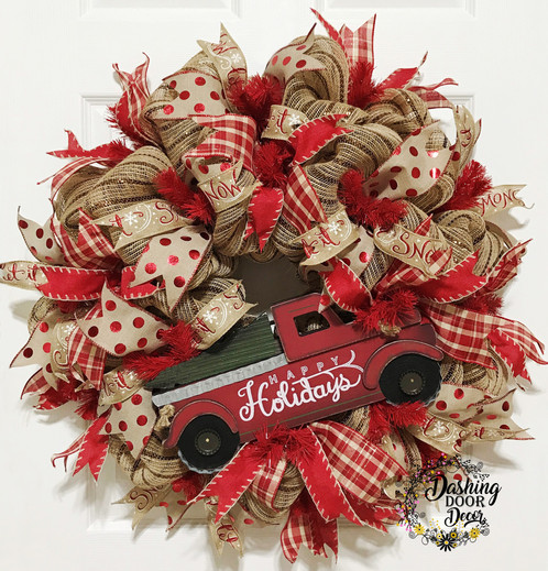 Rustic Happy Holidays Red Truck Christmas Tree Wreath 128