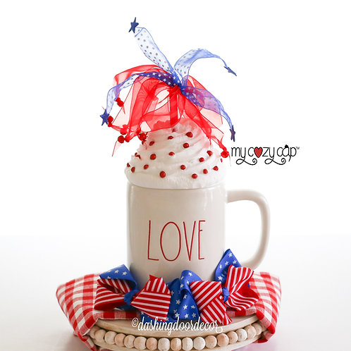 My Cozy Cap™ Fireworks Faux Whip Mug Topper fits Rae Dunn Mugs