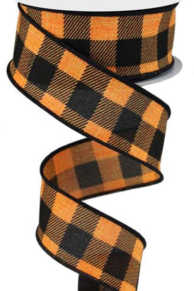 "1.5"" Plaid Check: Orange/Black (10 Yards)"