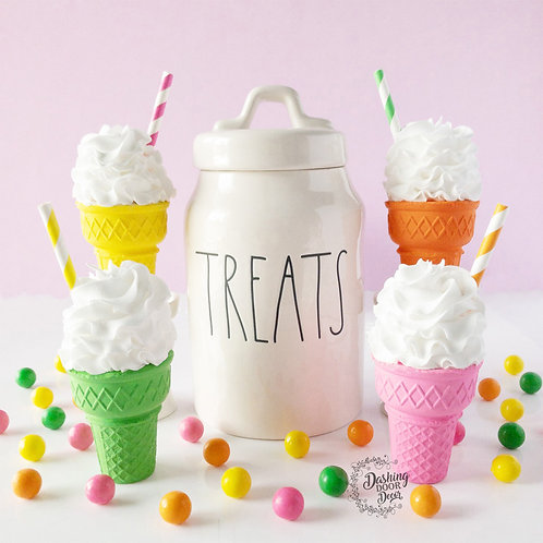 Bright Neon Color Ice Cream Cones for Decor/ Display