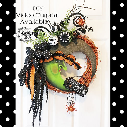 Whimsical Moon Witch Halloween Floral Grapevine Wreath