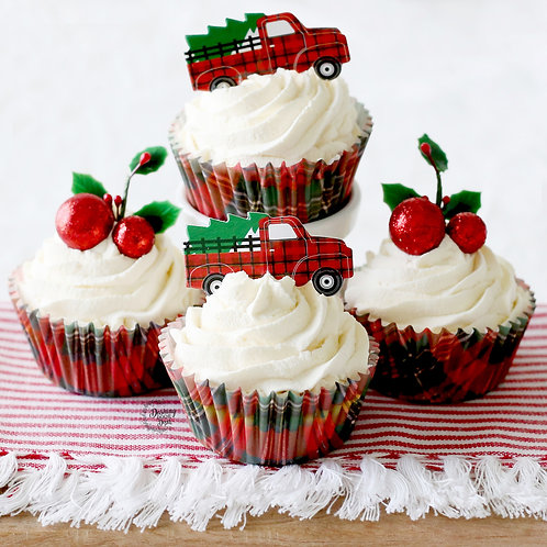 Faux Farmhouse Christmas Cupcakes for Display