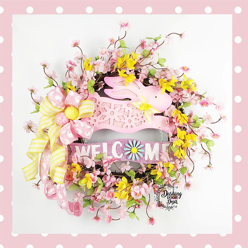 Spring - Easter Bunny Floral Cherry Blossom Forsythia Welcome Wreath