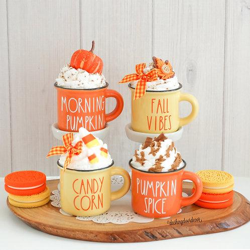 Fall Mini Faux Whipped Cream Mugs